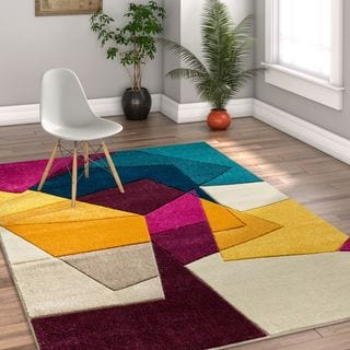 Well Woven Modern Geometric Abstract Violet Area Rug - 5'3 x 7'3