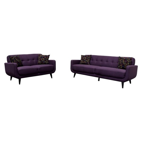 Best Master Furniture Twilight Lavender Mid Century Sofa Loveseat Set