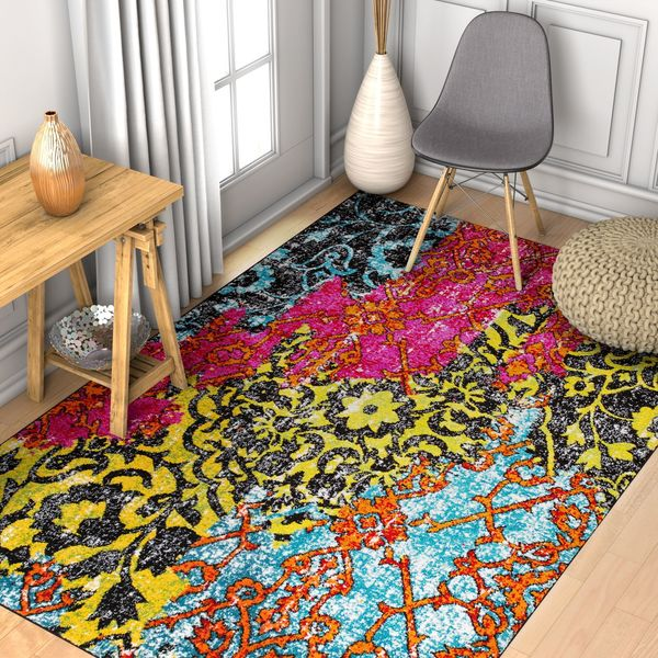 Well Woven Modern Distressed Bohemian Multi Area Rug - 7'10 x 9'10