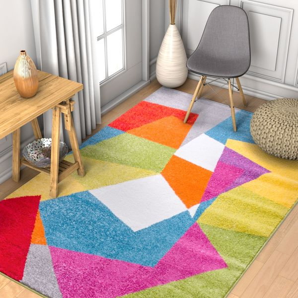 Well Woven Modern Geometric Shapes Bright Multi Area Rug - 7'10 x 9'10