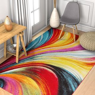 Well Woven Modern Bright Waves Abstract Yellow Multi Area Rug - 3'3 x 5'