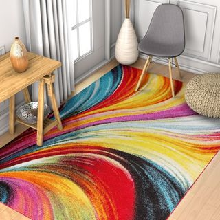 """Well Woven Modern Bright Waves Abstract Yellow Multi Area Rug - 3'3"""" x 5'"""