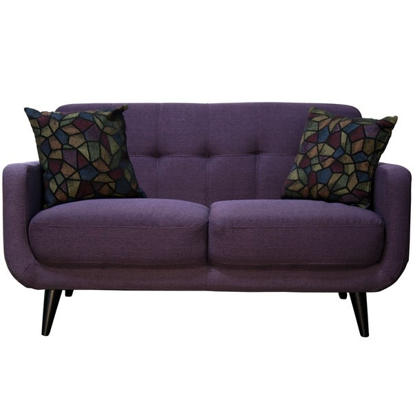 Best Master Furniture Twilight Lavender Mid Century Loveseat