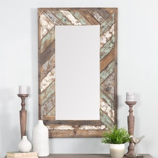 "Brogan Distressed Wood Slat Wall Mirror - Multi - 43.5""H x 26.5""W x 1.5""D (Mirror: 31.5""H x 15""W)"