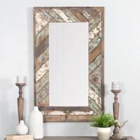 Brogan Multicolored Distressed Wood Slat Wall Mirror