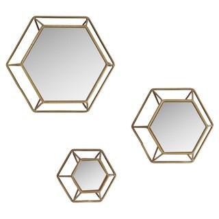 Shanton Hexagonal Wall Mirrors (Set of 3) - Brown - N/A