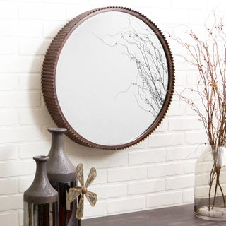 "Harrison Rustic Metal Wall Mirror - Brown - 23""H x 23""W x 4""D"