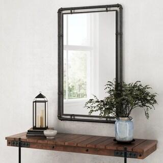 """Carbon Loft Berlik Industrial Metal Wall Mirror - Grey - 33""""H x 20.5""""W x 1""""D (Mirror: 29""""H x 16.5""""W)"""