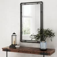 Morse Industrial Metal Wall Mirror - Grey - N/A