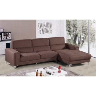Best Master Furniture YK15 Brown Fabric Sectional Sofa and Chaise