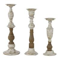 Sonja Wood & Metal Candle Holders