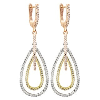 Luxiro Sterling Silver Tri-color Finish Cubic Zirconia Dangling Open Teardrops Earring - White