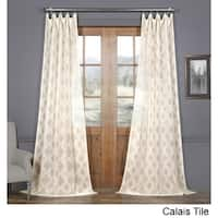 Exclusive Fabrics Calais Tile Patterned Faux Linen Sheer Curtain