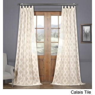 Exclusive Fabrics Calais Tile Patterned Faux Linen Sheer Curtain