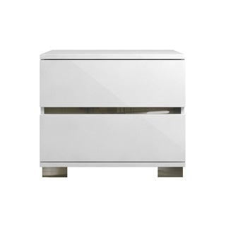SPARK High Gloss White Lacquer / Stainless Steel Nightstand / End Table by Talenti Casa