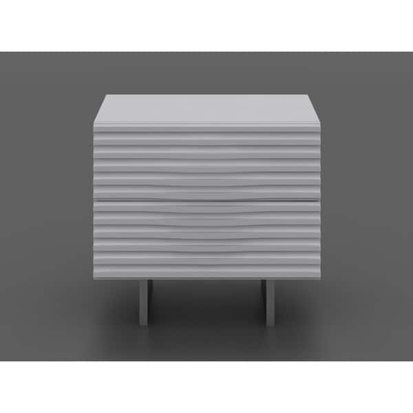Moon High Gloss White Lacquer Nightstand By Casabianca Home