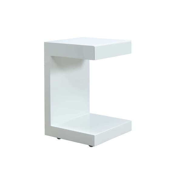 LINO High Gloss White Lacquer Nightstand By Casabianca Home