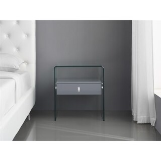 BARI High Gloss Gray Lacquer Nightstand / End Table by Casabianca Home