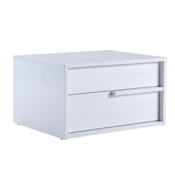 Casabianca Home Dolce High Gloss White Lacquer Right Side Nightstand / End  Table