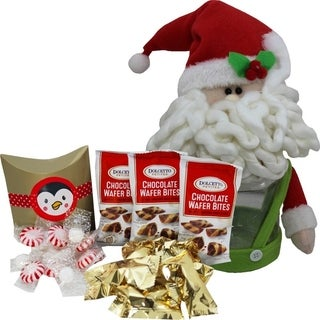 Jolly Santa or Penguin Chocolate and Candy Cookie Jar Gift Set