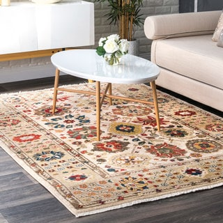 nuLOOM Light Beige Traditional Floral Border Tassel Area Rug