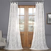 Exclusive Fabrics Paris Scroll Patterned Faux Linen Sheer Curtain