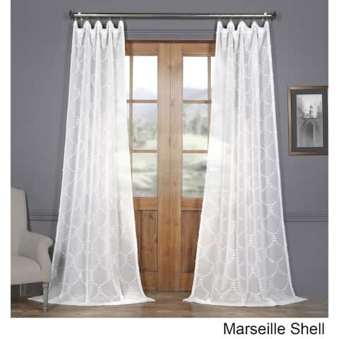 Exclusive Fabrics Marseille Shell Patterned Linen Sheer Curtain (1 Panel)