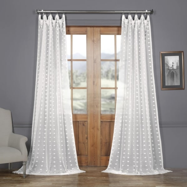 Exclusive Fabrics Strasbourg Dot Patterned Faux Linen Sheer Curtain. Opens flyout.