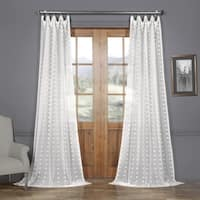 Exclusive Fabrics Strasbourg Dot Patterned Faux Linen Sheer Curtain