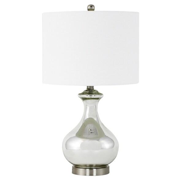 Deanna Silver-finish Glass/Linen Shade Table Lamp
