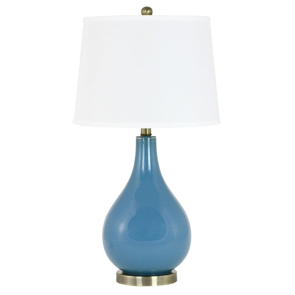 Genevieve Blue Glass Transitional Table Lamp with White Linen Shade