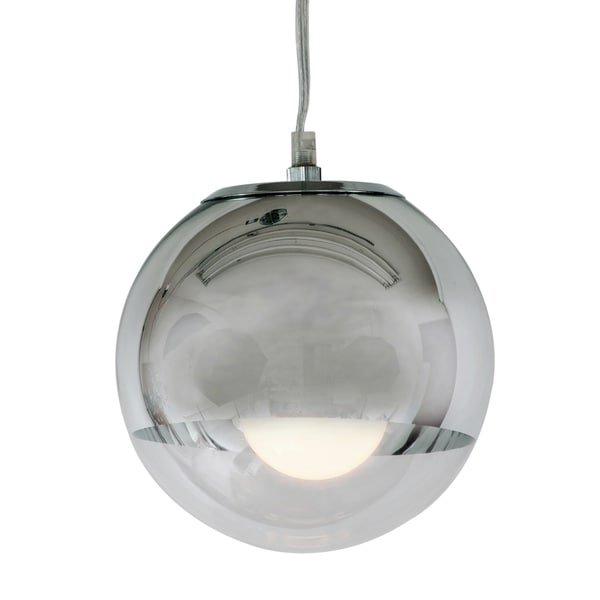 The Orb Chrome Finish Steel Single-light Pendant with Clear Glass Shade