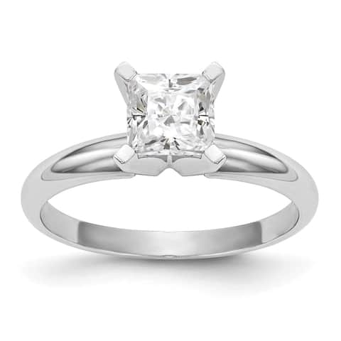 Moissanite 14K White Gold 0.91ct. 5.5mm Princess Cut Solitaire Ring by Versil