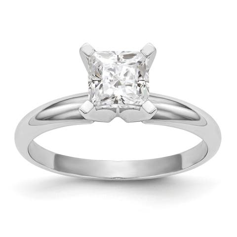 Versil 14 Karat White Gold 0.91 Carat 5.5 mm Princess True Light Moissanite Solitaire Ring