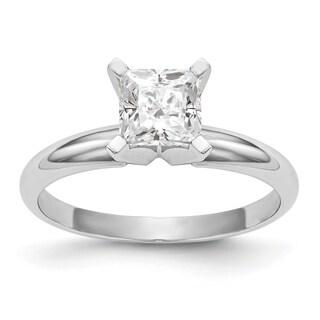 Versil 14 Karat White Gold 0 91 Carat 5 5 Mm Princess True Light Moissanite Solitaire Ring