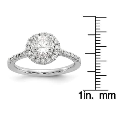 14K White Gold 1.3ct. Round Moissanite Halo Engagement Ring by Versil