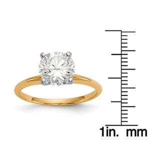 14 Karat Yellow Gold 2.0 Carat 8.0 mm True Light Moissanite Solitaire Ring (5 options available)