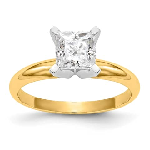 14 Karat Yellow Gold 1.0 Carat 5.5 mm Princess True Light Moissanite Solitaire Ring by Versil