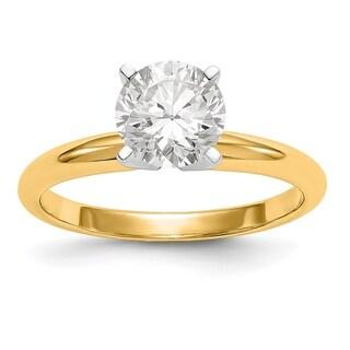 14 Karat Yellow Gold 1/2 Carat 5.0 mm True Light Moissanite Solitaire Ring