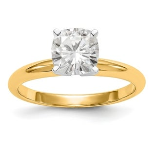 14 Karat Yellow Gold 1 2 Carat 4 5 Mm Cushion True Light Moissanite Solitaire Ring By Versil
