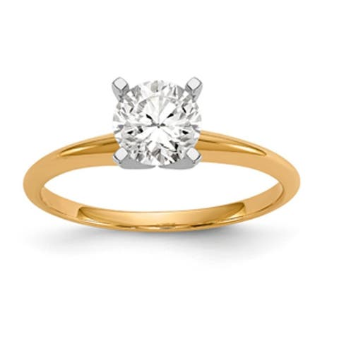 14K Yellow Gold 1.0ct. 6.5mm Solitaire Moissanite Ring by Versil