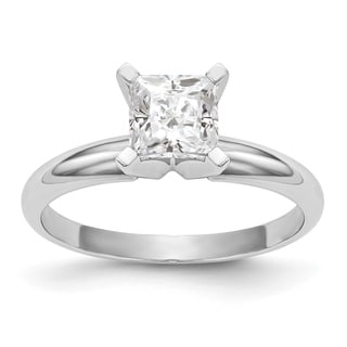Versil 14 Karat White Gold 75 Carat 5 0 Mm Princess True Light Moissanite Solitaire Ring