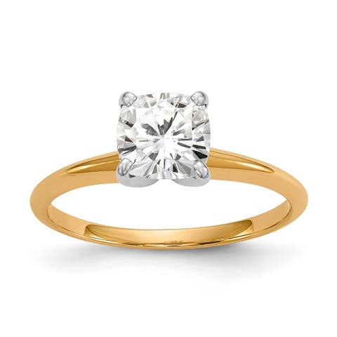 Moissanite 14K Yellow Gold 1.7 Carat 7.0mm Cushion Cut Solitaire Ring by Versil