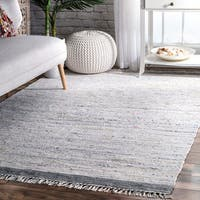 nuLoom Contemporary Stripe Flatweave Multicolored/Blue/Grey Cotton Tassel-edged Rug (7'6 x 9'6)