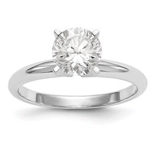 14 Karat White Gold .80 Carat 6.0 mm True Light Moissanite Solitaire Ring
