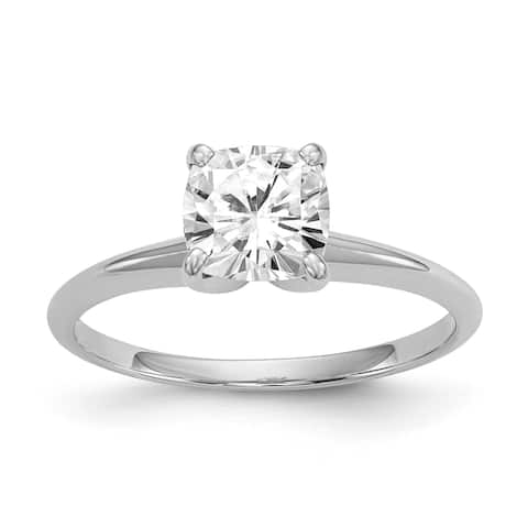 14K White Gold 1.7ct. 7mm Cushion Cut Moissanite Solitaire Ring by Versil