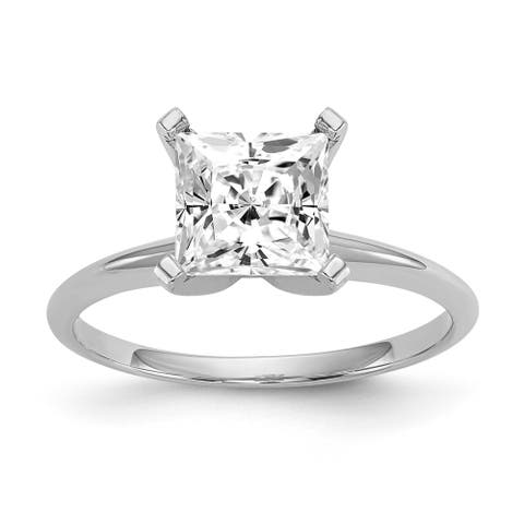 14k White Gold 2 1/3ct Moissanite Princess Solitaire Ring by Versil