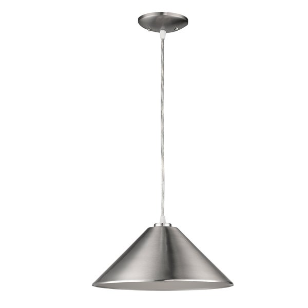 Acclaim Lighting Alcove Indoor 1-Light Pendant With Metal Shade In Satin Nickel - Silver