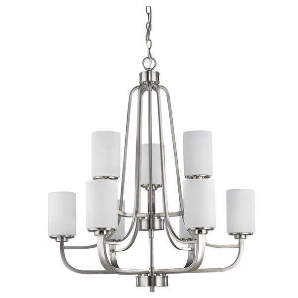 Acclaim Lighting Addison Satin Nickel Finish Steel Glass Shades Indoor 9-light Chandelier