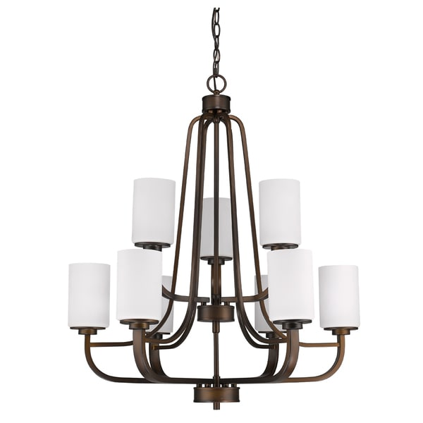Acclaim Lighting Addison Oil-rubbed Bronze-finished Metal 9-light Chandelier with Opal Glass Shades